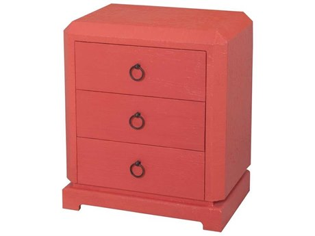 Elk Home Coral / Natural Raffia Three-Drawer Nightstand EK7011970