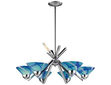 Elk Lighting Refraction Polished Chrome & Carribean Glass Six-Light 26'' Wide Chandelier EK14756CAR