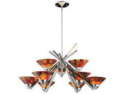 Elk Lighting Refraction Polished Chrome & Jasper Glass Nine-Light 31'' Wide Chandelier