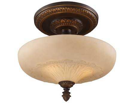 Elk Lighting Restoration Golden Bronze Three-Light 15'' Wide Semi-Flush Mount Light