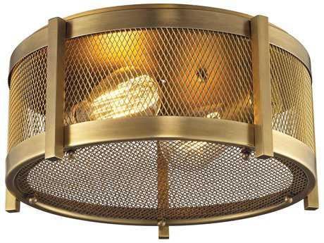 Elk Lighting Rialto Aged Brass Two-Light 13'' Wide Flush Mount Light