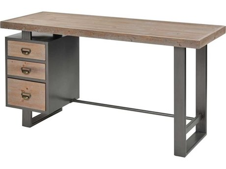 Elk Home Natural Wood / Pewter Secretary Desk