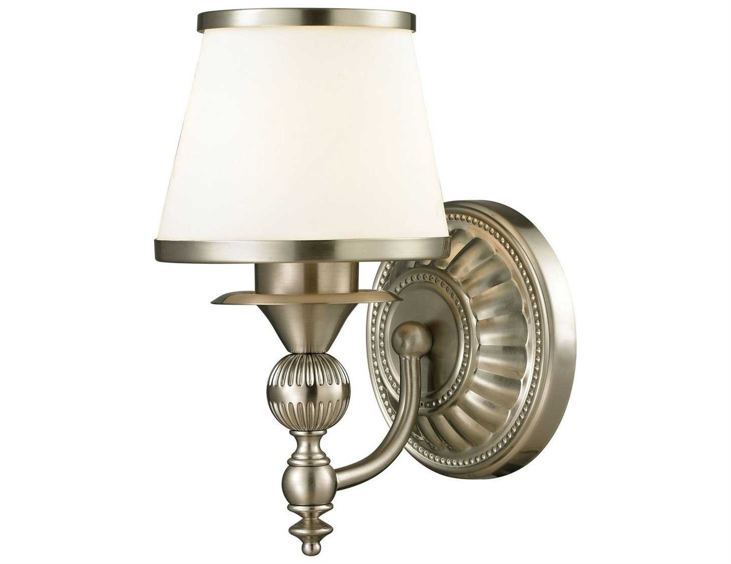 Minka Lavery Bridlewood Stone Grey With Brushed Nickel: Elk Lighting Smithfield Brushed Nickel Bath Wall Sconce