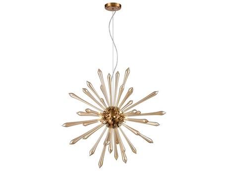 Elk Lighting Spiritus Amber / Aged Brass 28'' Wide Glass Pendant