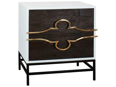 Elk Lighting Stellenbosch Dark Stained Wood / White Polished Brass 2 Drawers Nightstand EK70111507