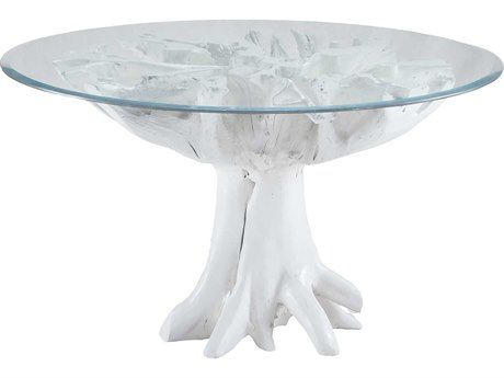 Elk Lighting White Teak Root 54'' Round Gloss White Entry Table EK7011004