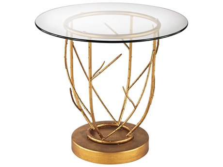 Elk Lighting Thicket 22'' Round Gold Leaf & Clear Glass End Table