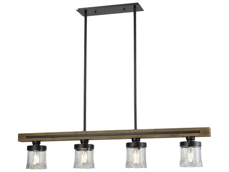 Elk Lighting Timberwood Oil Rubbed Bronze 50'' Wide Glass Island Light