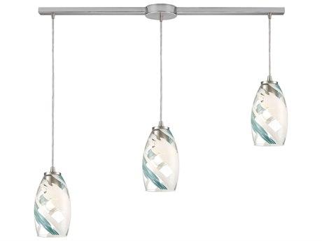 Elk Lighting Turbulence Satin Nickel 36'' Wide Glass Island Light