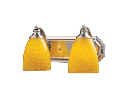 Elk Lighting Vanity Light Satin Nickel & Canary Glass Two-Light Vanity Light EK5702NCN