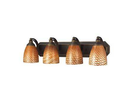 Elk Lighting Vanity Light Aged Bronze & Coco Glass Four-Light Vanity Light
