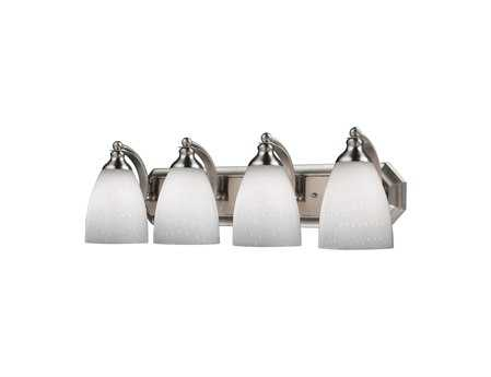 Elk Lighting Vanity Light Satin Nickel & Simply White Glass Four-Light Vanity Light