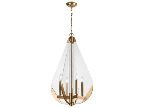 Elk Lighting Vapor Cone Aged Brass / Clear Acrylic 19'' Wide Mini Chandelier