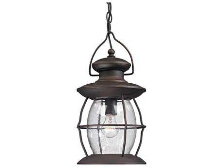 Elk Lighting Village Lantern Weathered Charcoal Outdoor Hanging Light