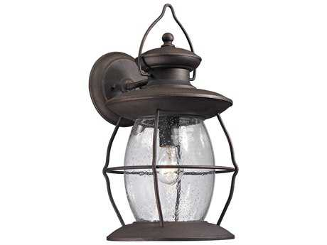 Elk Lighting Village Lantern Weathered Charcoal 9'' Wide Outdoor Wall Light