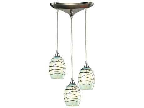 Elk Lighting Vines Satin Nickel Three-Light 10'' Wide Pendant
