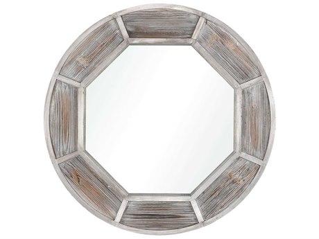 Elk Home Whitewashed Wood / German Silver Wall Mirror
