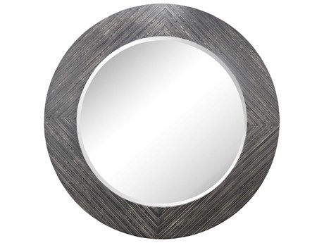 Elk Lighting Blackwall Wood Framed 64'' Round Black Ash Wall Mirror