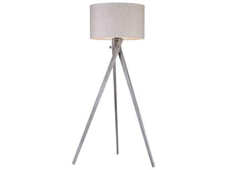Elk Lighting Whistler Black Ash Floor Lamp with Light Grey Shade