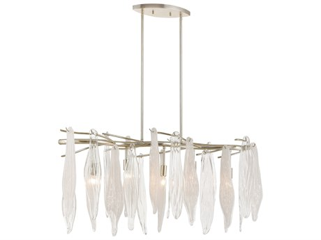 Elk Lighting Winterlude Silver Leaf 40'' Wide Glass Island Light