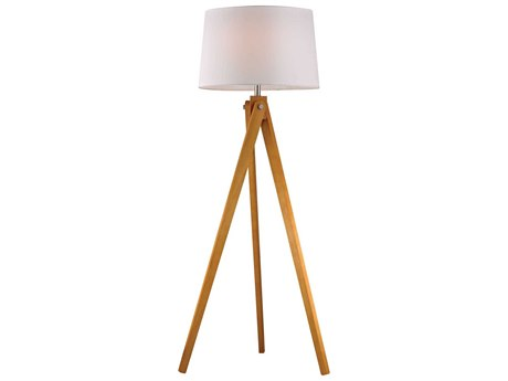 Elk Lighting Wooden Tripod Natural Wood Tone LED Floor Lamp
