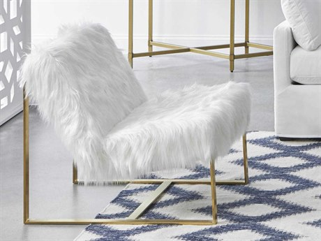 Essentials for Living Bella Antique White Fur / Brushed Gold Accent Chair