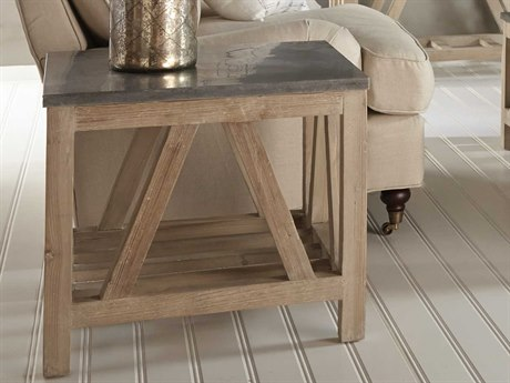 Essentials for Living Bella Antique Smoke Gray, Blue Stone 25'' Wide Square End Table