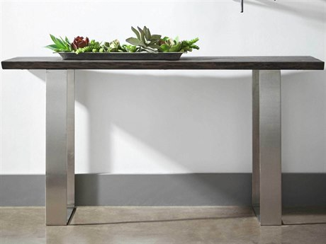 Essential For Living District Brushed Charcoal Oak/ Nickel 59'' Wide Rectangular Console Table ESL4624BNICBCO