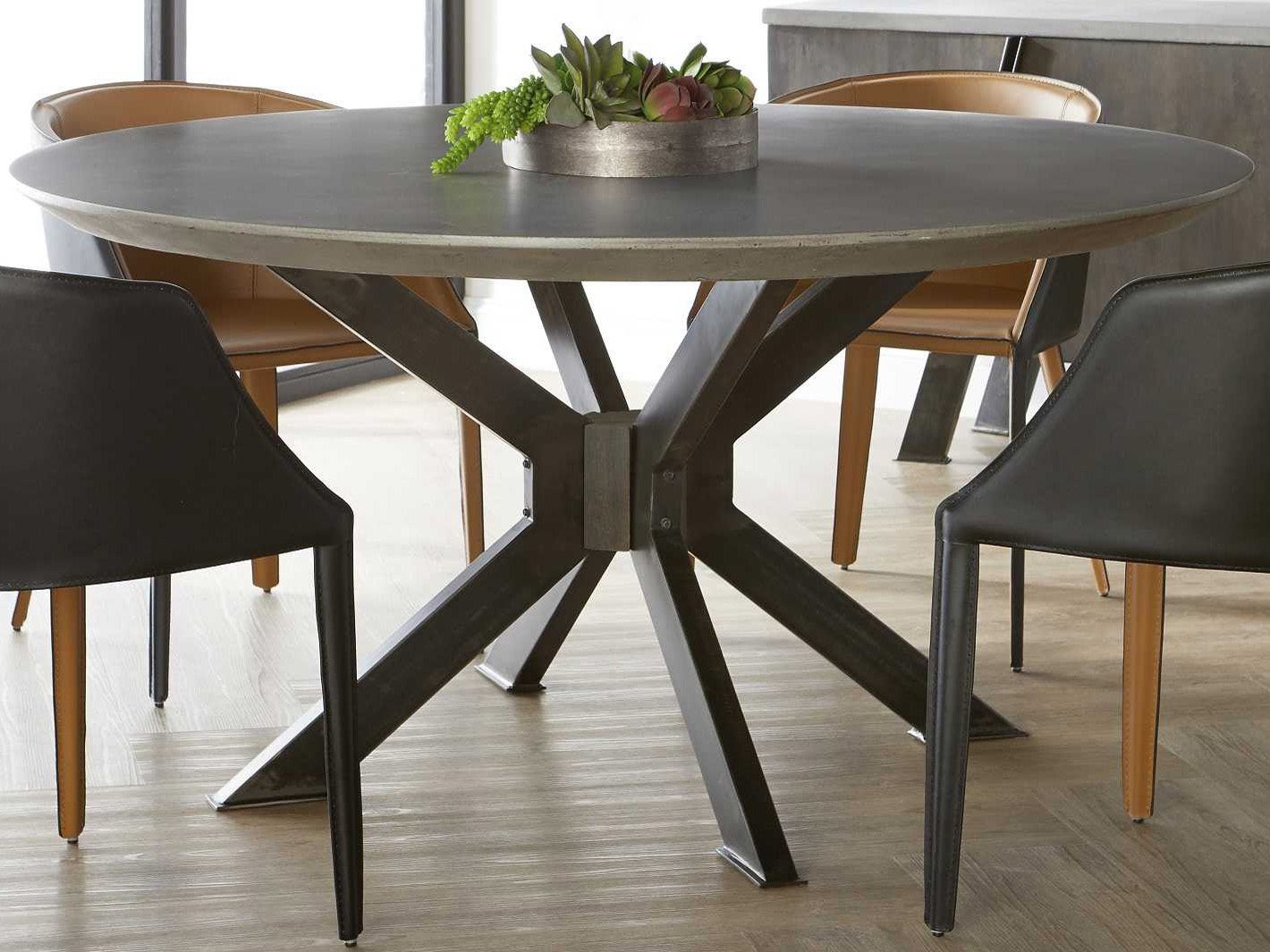 Essential For Living District Ash Grey Distressed Black 60 Wide Round Dining Table Esl4632rdblkagry