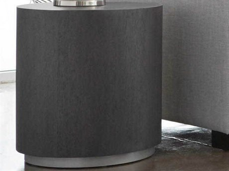 Essential For Living District Carbon/ Brushed Metal 20'' Wide Round Drum Table