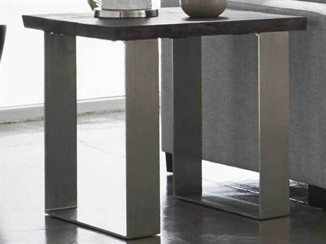 Essential For Living District Brushed Charcoal Oak/ Nickel 23'' Wide Square End Table