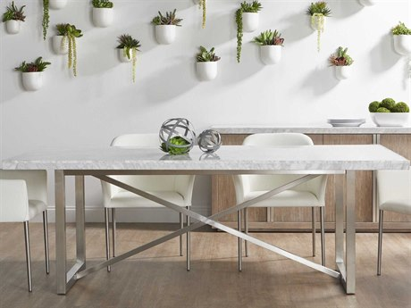 Essential For Living Elements White 86'' Wide Rectangular Dining Table ESL1050BSTLWHT