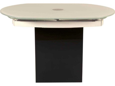 Essential For Living Ritz Era Super White Glass with Matte White Granite 47.5'' x 39.5'' Oval Extension Dining Table ESLE2609XTBLKSWHT