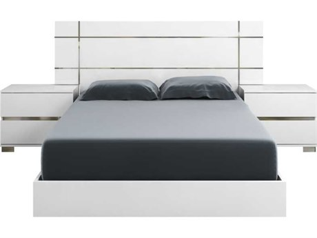 Essential For Living Vivente Icon White High Gloss Acrylic Lacquer California King Platform Bed