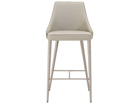Essential For Living Meridian Ivy Light Grey / Brushed Stainless Steel Bar Stool ESL1618BSSYNLGRY