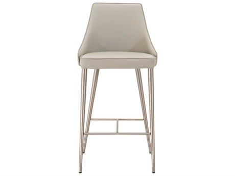 Essential For Living Meridian Ivy Light Grey / Brushed Stainless Steel Counter Stool ESL1618CSSYNLGRY