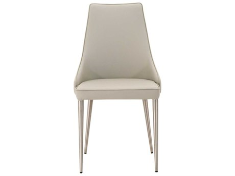 Essential For Living Meridian Ivy Light Grey / Brushed Stainless Steel Dining Side Chair (Set of 2) ESL1618SYNLGRY
