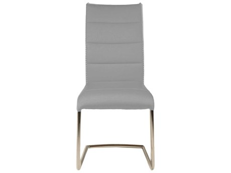 Essential For Living Regis Lido Ash Grey / Chrome Dining Side Chair (Set of 2) ESL3623FABAGRYWHT