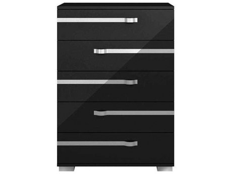 Essential For Living Vivente Lustro Black High Gloss Acrylic Lacquer 36'' x 19'' Five-Drawer Chest of Drawers