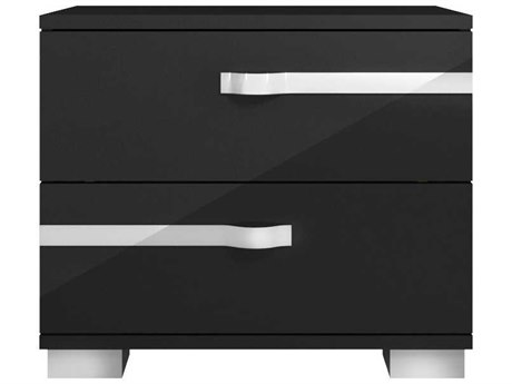 Essential For Living Vivente Lustro Black High Gloss Acrylic Lacquer 27'' x 16'' Nightstand