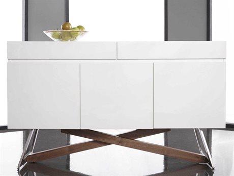 Essential For Living Ritz Monica White High Gloss Walnut & Stainless Steel 59'' x 18'' Buffet