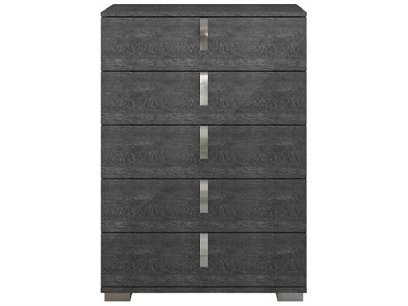 Essential For Living Vivente Noble Grey Birch High Gloss Acrylic Lacquer 36'' x 19'' Five-Drawer Chest of Drawers