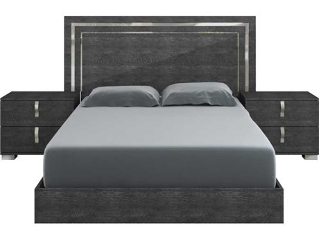 Essential For Living Vivente Noble Grey Birch High Gloss Acrylic Lacquer King Platform Bed
