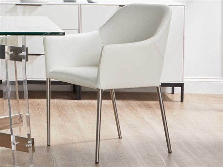 Essential For Living Orchard Brushed Stainless Steel / Alabaster Arm Dining Chair