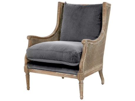 Essentials for Living Patina Shadow Gray Velvet / Weathered Accent Chair ESL8213SHGRYW