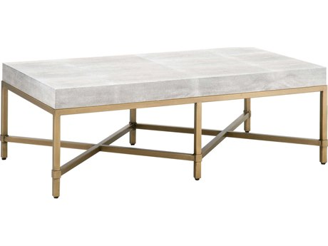 Essentials for Living Traditions White Shagreen, Brushed Gold 50'' Wide Rectangular Coffee Table ESL6117WHTSHGGLD