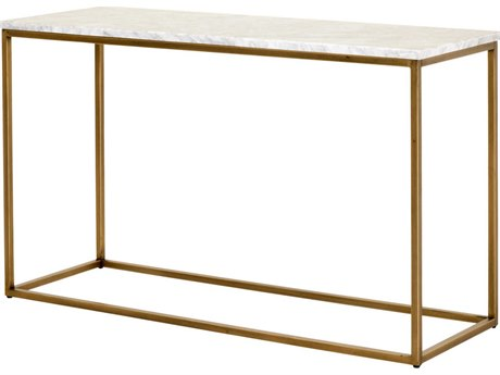 Essentials for Living Traditions Brushed Gold, White 50'' Wide Rectangular Console Table