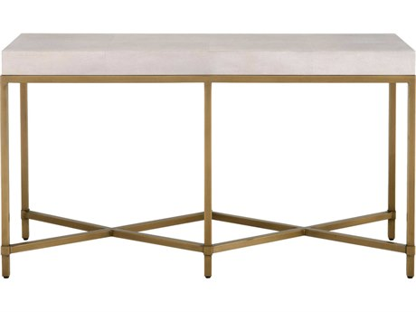 Essentials for Living Traditions White Shagreen, Brushed Gold 54'' Wide Rectangular Console Table ESL6119WHTSHGGLD