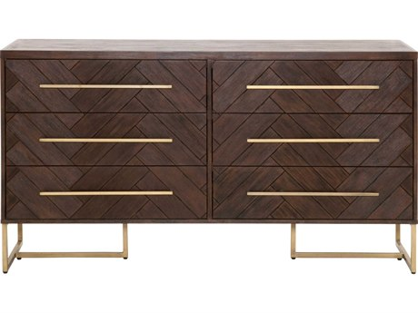 Essentials for Living Traditions Rustic Java & Brushed Gold Six-Drawer Double Dresser