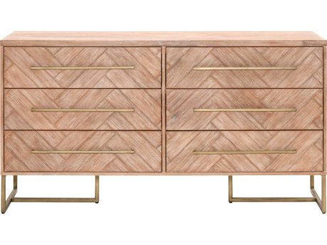 Essentials for Living Traditions Stone Wash & Brushed Gold Six-Drawer Double Dresser